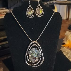 Abalone Necklace and Earrings Set